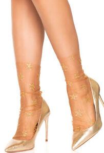 Leg Avenue nude Glitter star tulle anklet