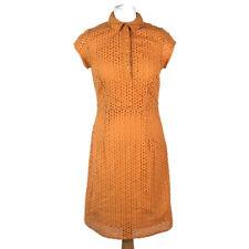 TU Orange Cotton Embroidered Broderie Anglaise Aline Summer Dress Size 10