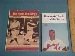 Lot of 2 Vintage HANK AARON Books , Both 1st. Printing~ Hammerin' Hank/Babe Ruth