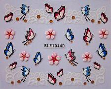 Adesivi per unghie materici in rilievo FIORI FARFALLE flowers nail art stickers