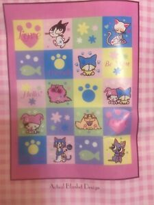 "Barcode Kitty BLANKET Children's Plush Throw 60x80"" Hello Be Mine Love NEW!!"
