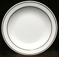 """Set of 4 CORNING Pyroceram TABLEWARE 8 7/8"""" LUNCH Luncheon PLATES w/ BROWN BANDS"""