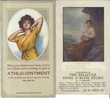 1930's/40's 2 Blotters Athlo-Oinment  Bellevue Music & Book Store Mother & Child