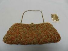 "MONI COUTURE EVENING PURSE  CLUTCH BEADED SZ-9,5"" X 4"" 2 METAL CHAIN STRAPS"
