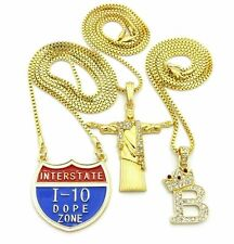 Iced Jesus, King B & I-10 Dope Zone Bling Pendant & Chain Hip Hop Necklace Set