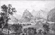 SUISSE - SION (CHÂTEAU de TOURBILLON et la BASILIQUE de VALÈRE) - Gravure du 19e