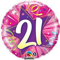 """Foil 18"""" 21st Birthday Shining Star Hot Pink BIRTHDAY PARTY SUPPLIES"""