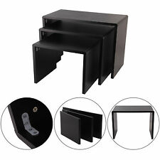 Modern Design High Gloss Black Nested 3 Coffee Table Side Living Room Furniture
