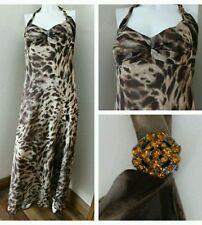 Women's Animal Print Chiffon Sleeveless Full Length Dresses