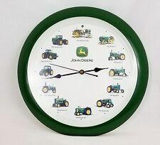 John Deere Tractor Wall Clock w/ Engine Sounds 1916-2002 Green Plastic Works