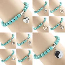 New Charm Turquoise Beads Pendant Bracelet Bangle Angel Yin Yang Heart Jewelry