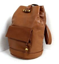 BROWN GENUINE LEATHER  BACKPACK BRASS HARDWARE MADE IN INDONESIA