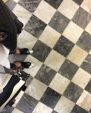 MIU MIU Prada Black Leather Oxford Lace Up Silver Cap Combat Boots Women 37.5