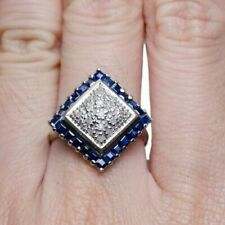 Round Cz Cluster Engagement Band Ring Awesome 925 Sterling Silver Princess Cut &