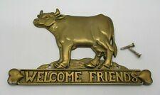 Brass Cow Welcome Friends Wall Plaque Upper Deck 1990