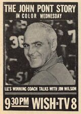 1967 WISH TV AD~JOHN PONT~INDIANA HOOSIERS ROSE BOWL FOOTBALL COACH~1927-2008
