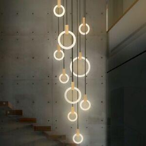 Modern LED stair chandelier lighting Nordic living room ceiling pendant lamps