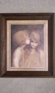 A Little Kiss by Margaret Kane Print in Wood Frame with Glass