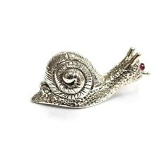 Antique Style Snail Pill Snuff Trinket Box Ruby Eyes 925 Sterling Silver