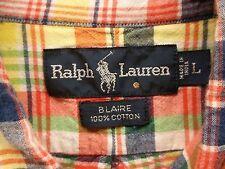 Mens Ralph Lauren Blaire L Multicolor Plaid Button Down Shirt LS Horseman EUC