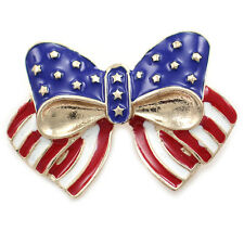 Flag Ribbon Bow Tie Brooch Pin p792 Independence Day July 4th American Usa Star