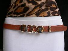 Trendy Cintura Donna Moda Stretto Fascia Oro Arancione Circoli Fibbia in Metallo