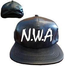 Black PU Faux Leather N.W.A NWA Snapback Cap Hat