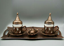 Coffee Cups Set antiqe art decor or gift authentic tray serving Brown color