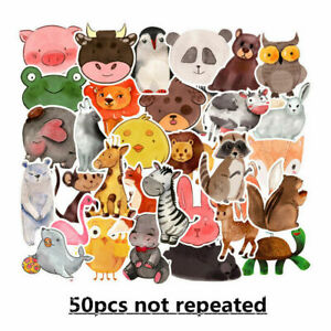 50Pcs Watercolor Animal Vinyl Stickers Bomb Laptop Skateboard Luggage Decals Lot