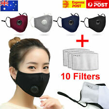 Air Purifying Face Mask Mouth Washable Reusable Safety Respirator + 10 Filters