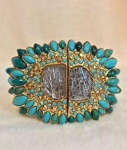 ALEXIS BITTAR Green Lucite GEORGIA O'KEEFFE NAVAJO STARBURST Turquoise Bracelet