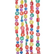 KURT ADLER 9' LONG PLASTIC GLITTERED LIFE SAVER, BALL & CANDY XMAS TREE GARLAND