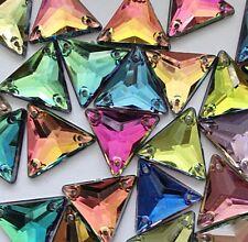 50 pcs x Sew On 16 mm Acrylic Rhinestones Multi Color Triangle Shape