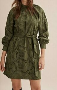 COUNTRY ROAD | Size 10 S KHAKI DRESS, Small Women's Broderie Dress | BNWT RP$179