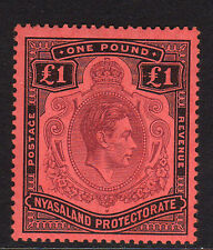 NYASALAND 1938-44 £1 WITH SERIF ON 'G' SG 143c MINT.