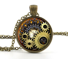 Gears Cog Jewelry & Gift Bag Steampunk Necklace Pendant - Vintage Bronze Compass