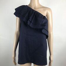 Halogen Womens Top L Navy Blue Cotton One Shoulder Ruffle Blouse $59