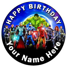 """AVENGERS TEAM - 7.5"""" PERSONALISED ROUND EDIBLE ICING CAKE TOPPER"""