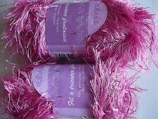 Tendance fancy knitting yarn, eyelash, fuchsia/hot pink, lot of 2