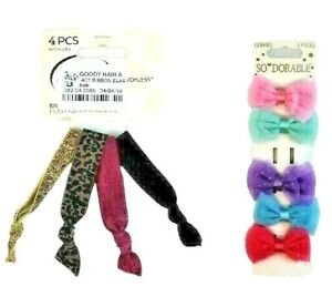 So Dorable Goody Ouchless Girls Hair Ribbons Clippies Bow Tie Multicolor Glitter