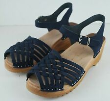 Troentorp Womens Swedish Clogs Strappy Leather Sandals Navy - Size 39 - US 8