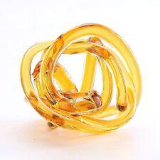 """New 6"""" Hand Blown Art Glass Knot Sculpture Figurine Abstract Amber"""