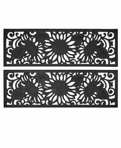 Sets of 2 Sunflower Scrollwork Outdoor Porch Patio Durable Rubber Stair Treads