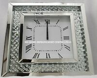 Sparkly Floating Crystal Large Silver Mirrored Square Wall Clock 50x50cm DAMAGE