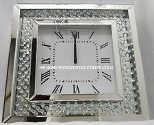 Scintillant Flottant Cristal Argent Grand Miroir Horloge Murale Carrée 50x50cm