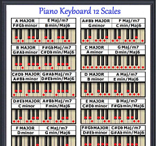 PIANO KEYBOARD 12 SCALES POSTER - EVERY NOTE FOR ANY KEY