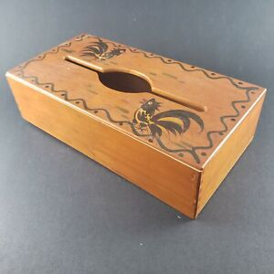 Woodpecker Woodware Japan Wood Tissue Box Table or Wall Mount Roosters Vintage