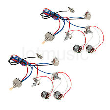 Guitar Wiring Harness Kit 2V2T Pot Jack 3 Way Switch for Guitar Parts 2 Set