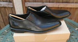 Mens Clarks Bensley Step Leather Shoes In Black Slip On UK 8 Brand New In A Box