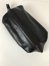 Vintage Swank Leather Toiletry Bag Shaving Dopp Kit Travel Case Dark Brown
